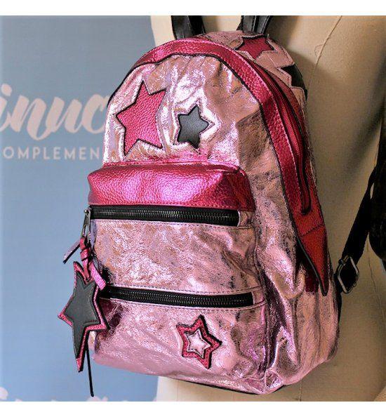 Juvenil y atrevida mochila rosa y fucsia metalizado con