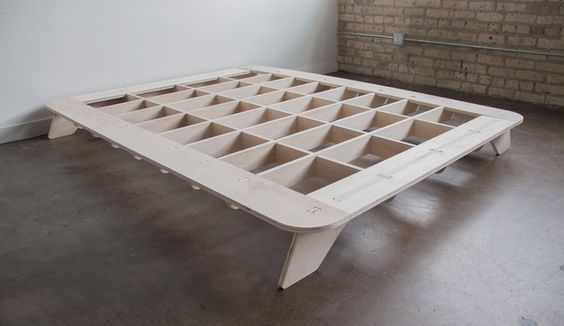 Trestle is a full size flat pack bed frame made from a single sheet of  plywood.
