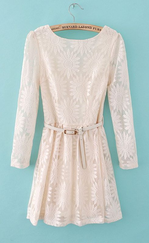 Daisy lace belted dress