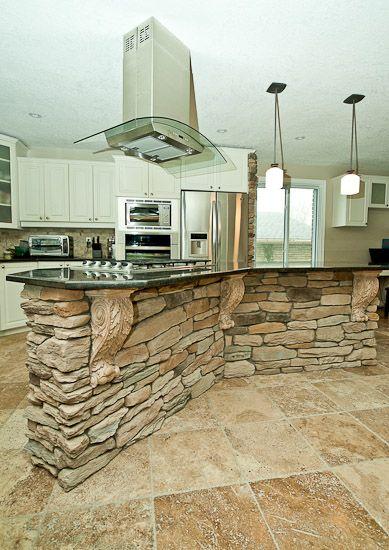 Kitchen stone veneer quo vadis interiors stone veneer for Stone kitchen island