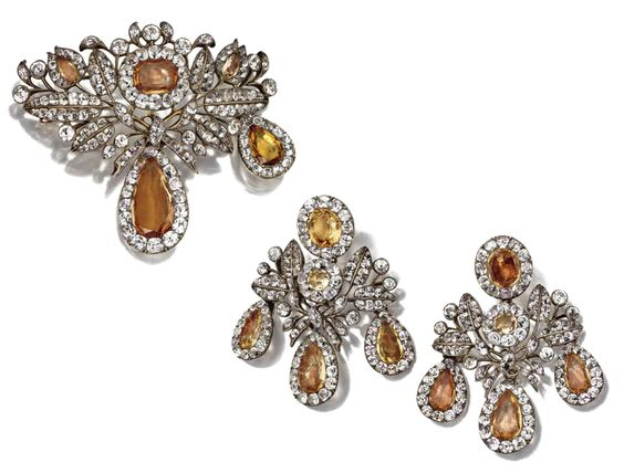 ANTIQUE TOPAZ AND PASTE DEMI-PARURE, 18TH CENTURY