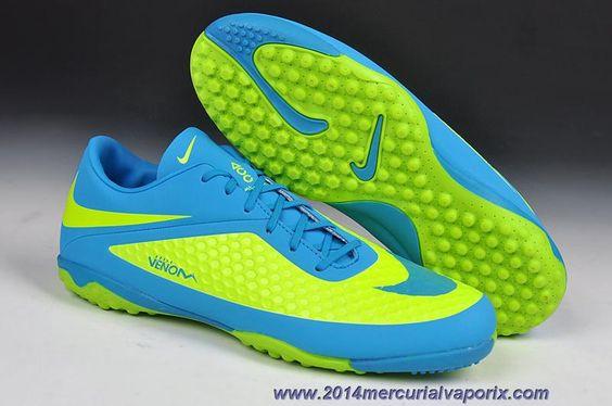 Nike Hypervenom Phelon TF Jnr Boots Fluorescent Green/Blue Online