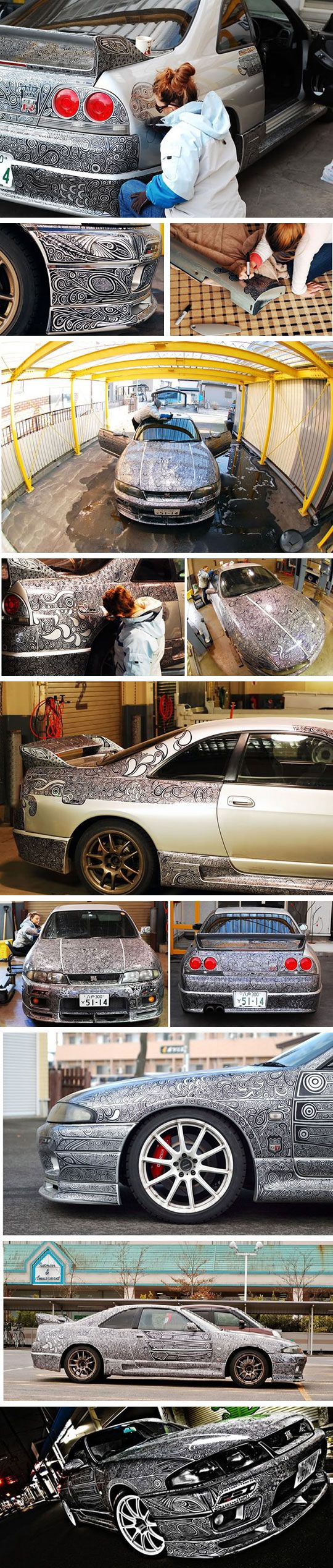 This Is My Friends Car Done Completely In Sharpie Car Pics - Artist wife doodles husbands car