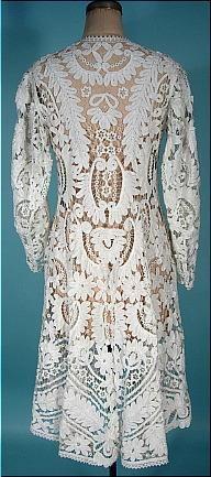 c. 1900 Near Mint Condition White Battenberg Lace Over Coat or Long Battenberg Lace Jacket!