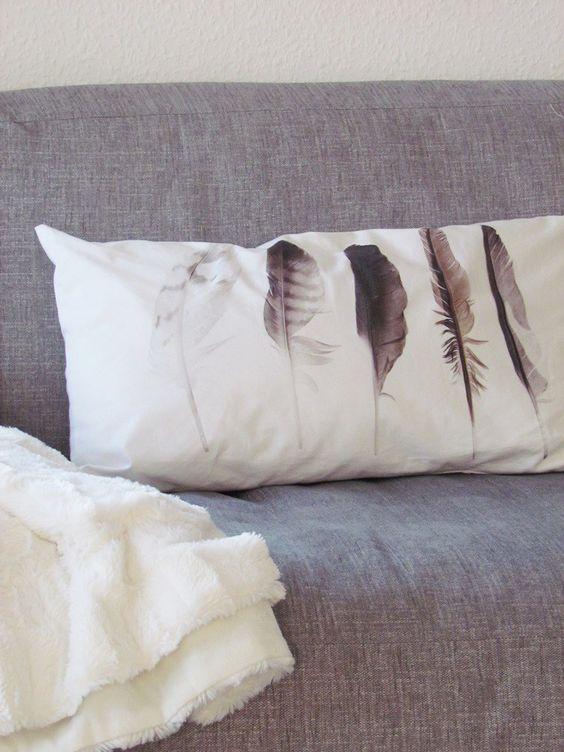 Kissen – vnf handmade, Feder Print
