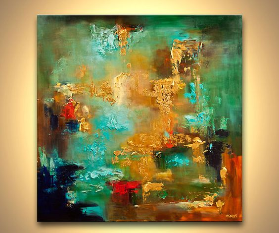 """Modern Red Gold Turquoise Textured Abstract Painting 40"""" X"""