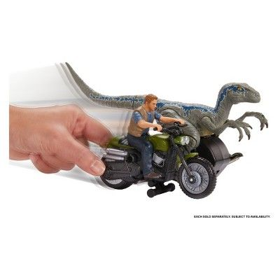 "Owen and Motorcyle  Fallen Ki Jurassic World Rip-Run Dinos Velociraptor /""Blue/"""