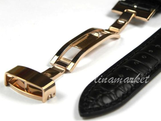 $16.00 (Buy here: http://appdeal.ru/7f59 ) 24mm (Buckle 22mm)Top-Grade Rose Gold Butterfly buckle Black Crocodile pattern Genuine Leather Watchbands BANDS Strap HLZX102Ra for just $16.00