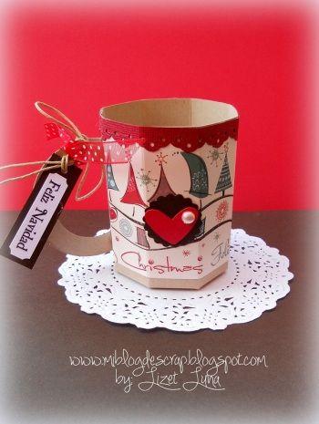 •(♥).•*´¨`*•♥•Taza de papel para dulces•♥•*´¨`*•.(♥)• - Divas in Recycling: Para Dulces, Cup Of, Paper, Ideas Para, Christmas, Scrap Ideas
