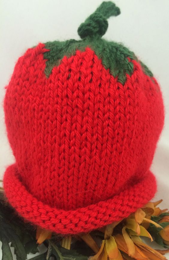 Red baby hat with leaf top extra warm and cuddly #cpromo