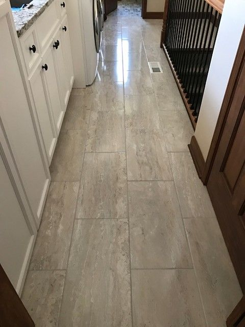 Travertino Grey Ceramic Floor Tile 12 X 24 In The Tile Shop Ceramic Floor Tile Flooring Grey Ceramic Tile