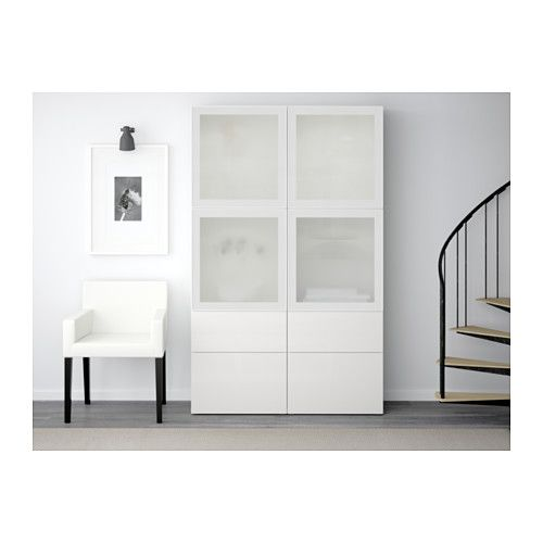 best vitrine wei selsviken hochglanz frostglas wei schubladenschiene sanft schlie end. Black Bedroom Furniture Sets. Home Design Ideas