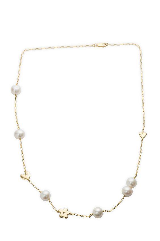 Miore Damen-Collier 18 Karat (750) Gelbgold Swasser-Zuchtperle wei ca.9mm Herzen, Blume mit Brillant 42cm AG0171 - See more at: http://juwel.florentt.com/jewelry/miore-damencollier-18-karat-750-gelbgold-swasserzuchtperle-wei-ca9mm-herzen-blume-mit-brillant-42cm-ag0171-de/#sthash.b7CpCanz.dpuf