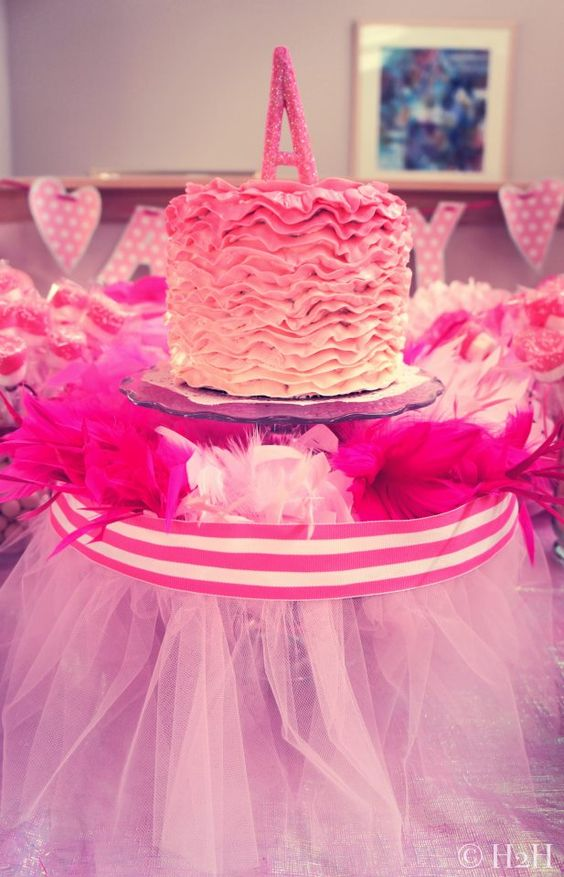 Ruffled Ombre Smash Cake for a Tutu-themed Party- #firstbirthday