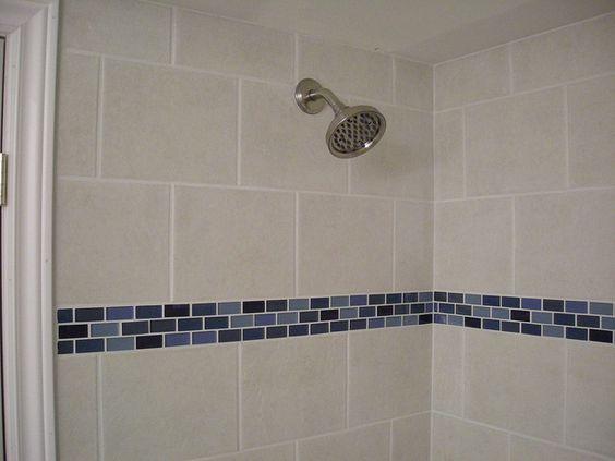 Porcelain Tile Shower Ceramic Tile Shower Stall With Glass Border Detail Flickr Photo