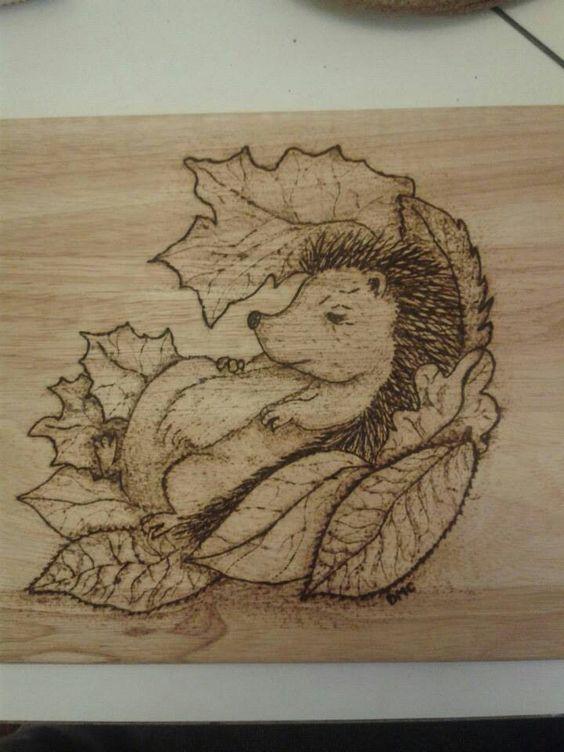 Pyrography Hedgehog On A Chopping Board Pyrography