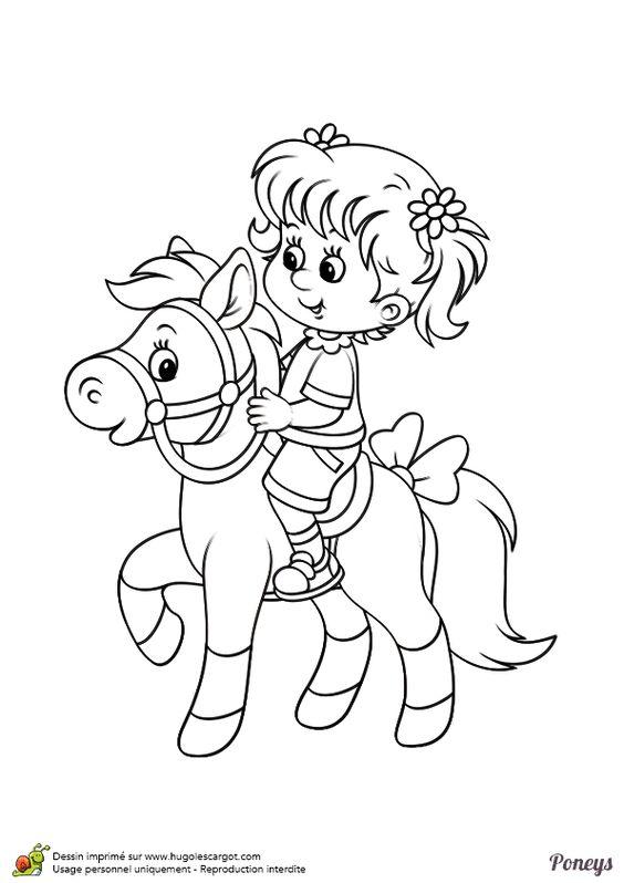 une petite fille sur le dos de son poney dessin colorier coloriages animaux de compagnie. Black Bedroom Furniture Sets. Home Design Ideas