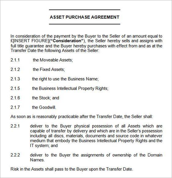 asset purchase agreement sample Agreement Pinterest - transfer agreement