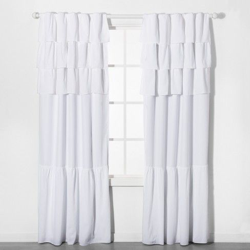 84 Ruffle Blackout Curtain Panel White Pillowfort With Images