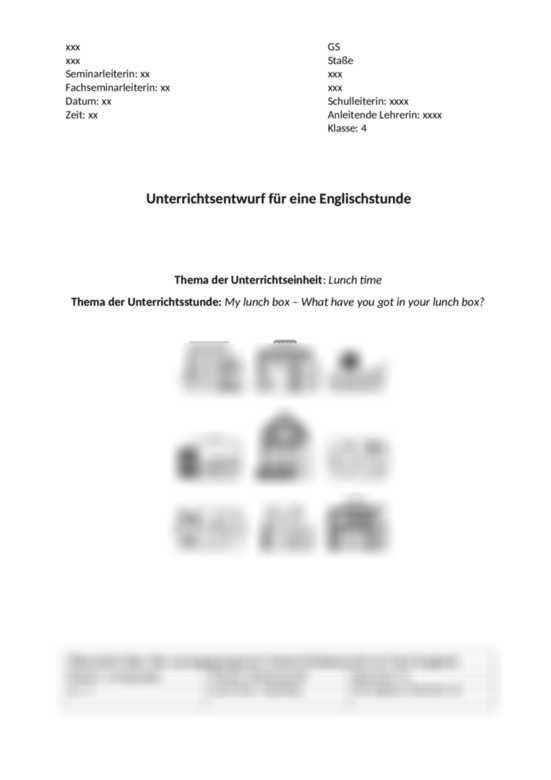 Unterrichtspalnung English Lunchbox Unterrichtsplanung Englisch Unterrichtsplanung Unterrichts Planung Schulleitung
