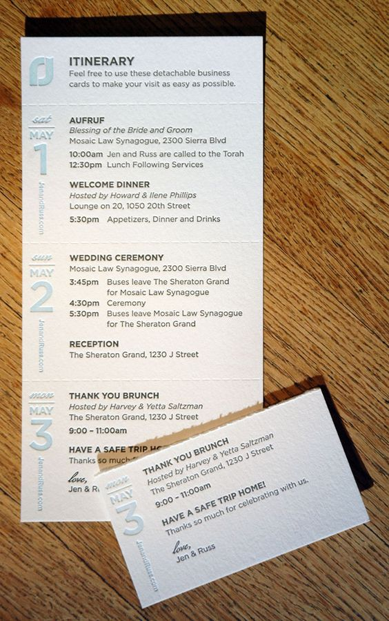This itinerary card perforates into business size cards for the - Business Event Invitation