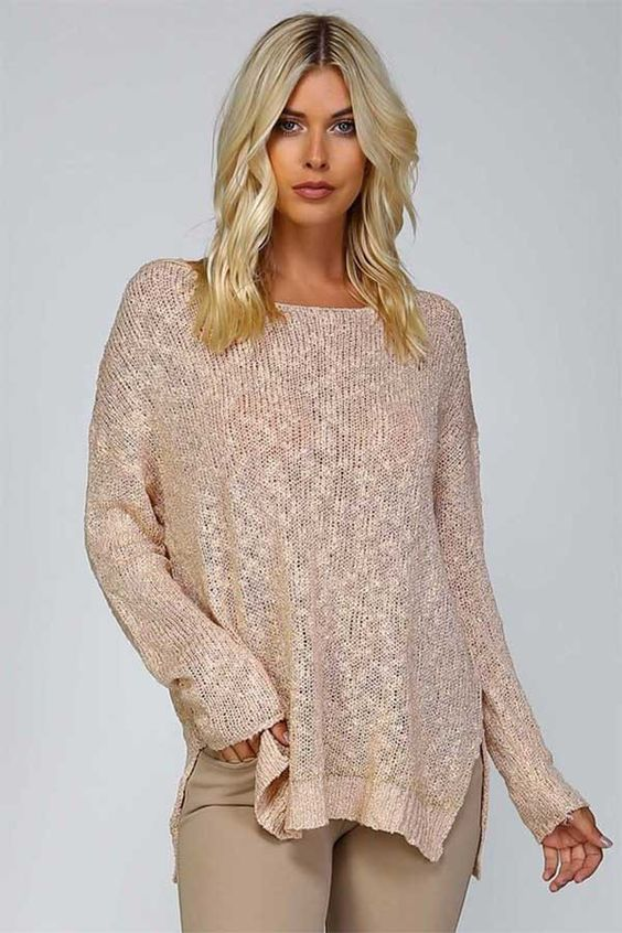 Knit Boat Neck Sweater - Black or Blush