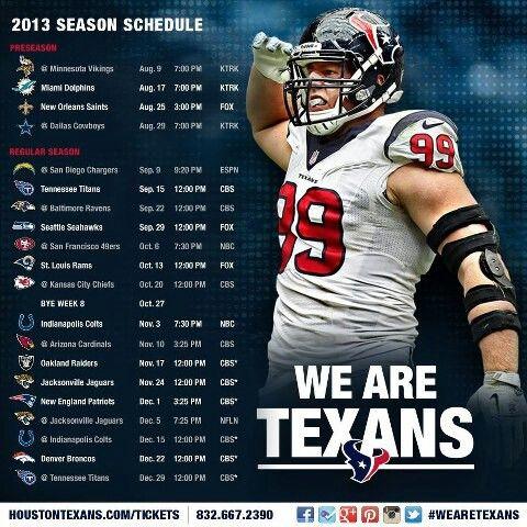 2013 Houston Texans schedule!!