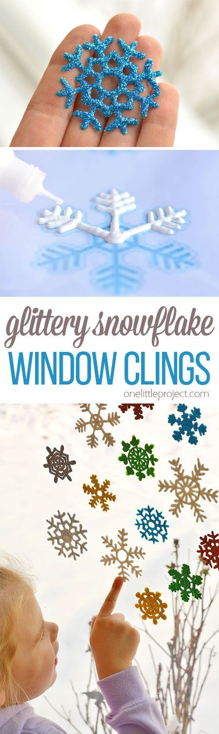 These snowflake window clings are so easy to make and they end up looking SO PRETTY! They're a great decoration that can be left up all winter!: