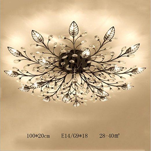 Diy Family Modern Crystal Led Ceiling Lamp Leaf Flush Mount Ceiling Light Fixture Decorative Crystal Crystal Chandelier Bedroom Ceiling Light Modern Chandelier