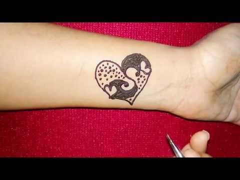 Diy S Latter Henna Tattoo Design With Heart Shape Youtube Henna Tattoo Designs Alphabet Tattoo Designs Henna Art Designs