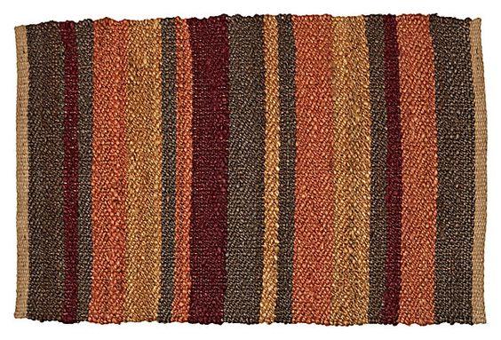 2' x 3' Stripe Jute Rug, Tan/Multi on OneKingsLane.com