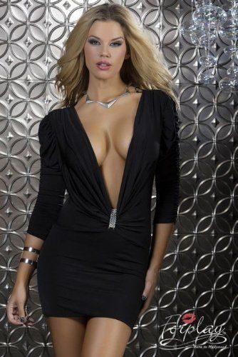 #Sexy Rhinestone Deep Plunge #Dress ... #fashion   #style