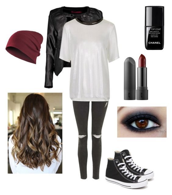 """""""Badass"""" by kaylamirzai ❤ liked on Polyvore featuring Topshop, Boohoo, Converse and le top"""