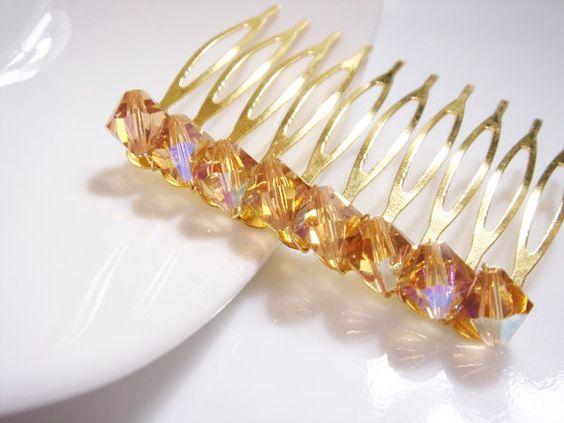 Gold Swarovski Colorado Topaz AB Crystal Hair Comb by Ausentes