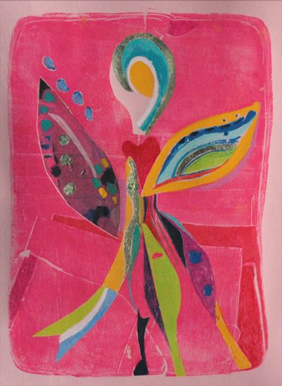 "Dancing Angel, 9"" x 11"" mixed media on colored paper with gold leaf, 2011"