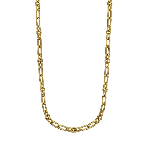 Mini oval and round chains asymmetric chain in yellow gold-plated