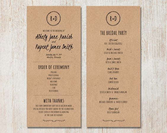 Fonts Rustic Wedding Programs And Kraft Paper On Pinterest
