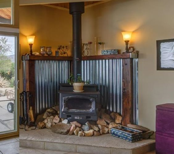 Corregated Metal With Wood Trim To Protect Wall Behind The Stove Stunning And Rustic Wood Stove Hearth Wood Stove Fireplace Rustic Bathroom Designs