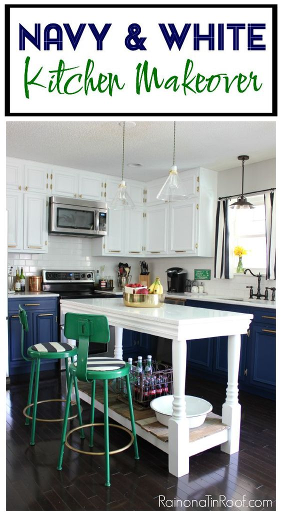 Modern Kitchen Navy White Painted Cabinets DIY Island