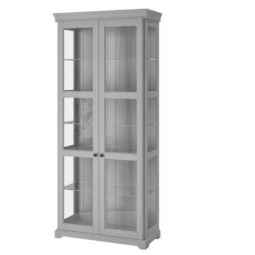 Malsjo Glass Door Cabinet Black Stained Black Stained 40 1 2x18