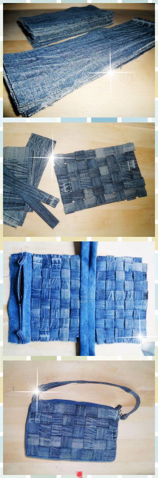 Bolso de tela de jeans viejos.