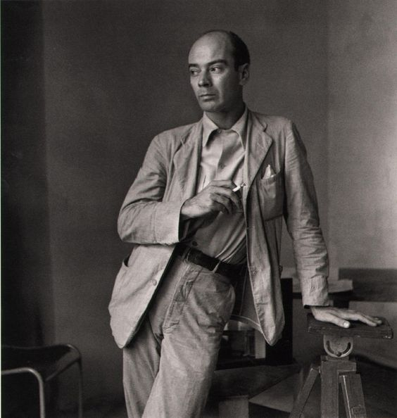 Clifford Coffin, 1947, self portrait, unpublished.  Coffin had no formal training, but once he had decided as a young man to become a photographer, he had the nerve to send his first efforts directly to an art director at Vogue, who gave him advice and encouragement. When many photographers were shipped off to war in 1942, Coffin was given his big break, hired by the magazine on a trial basis, with no pay.