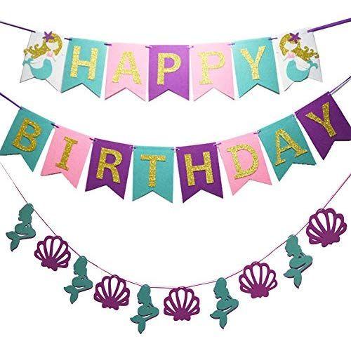 Jyohey Meerjungfrau Happy Birthday Girlande Gold Mit Shell Und