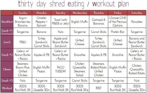 30 day shred diet plan