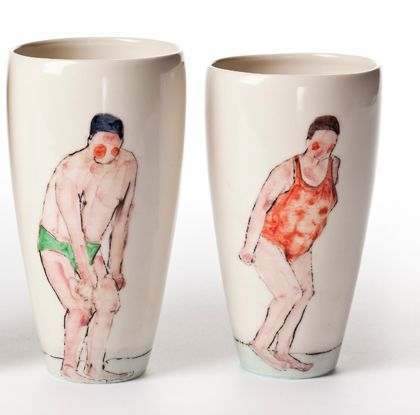 porcelain drinking glasses by Helen Beard via Ashes and Milk
