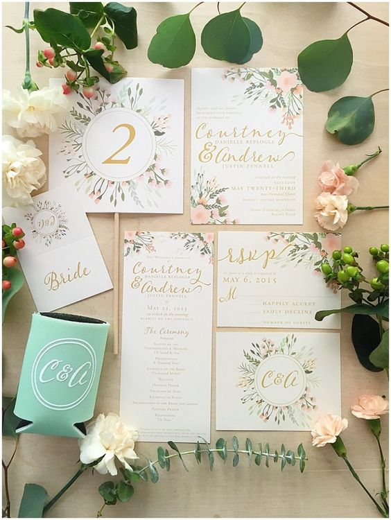 Gold, Greenery Spring Florals, wedding invitation suites, custom wedding invitations, alabama wedding invitations, floral wedding invitations