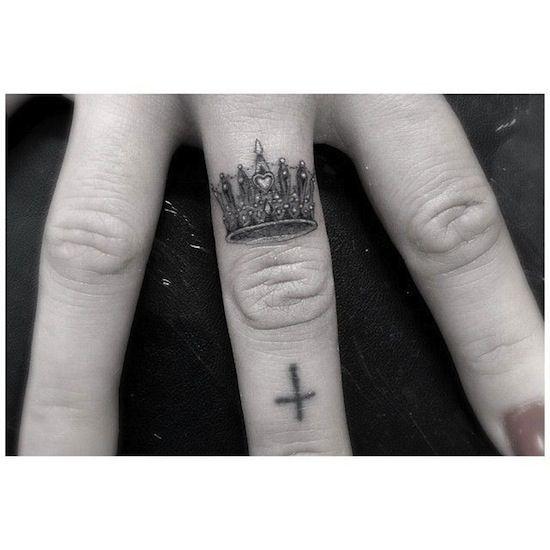 King Crown Finger Tattoos