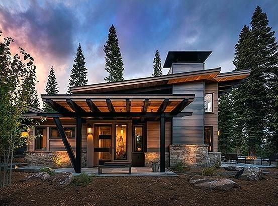 Shed Roof Homes Sandbox Designed This Square Foot 2 Bedroom 2 Bath Guest House In The Mountain Mountain Home Exterior Mountain House Plans Modern Mountain Home