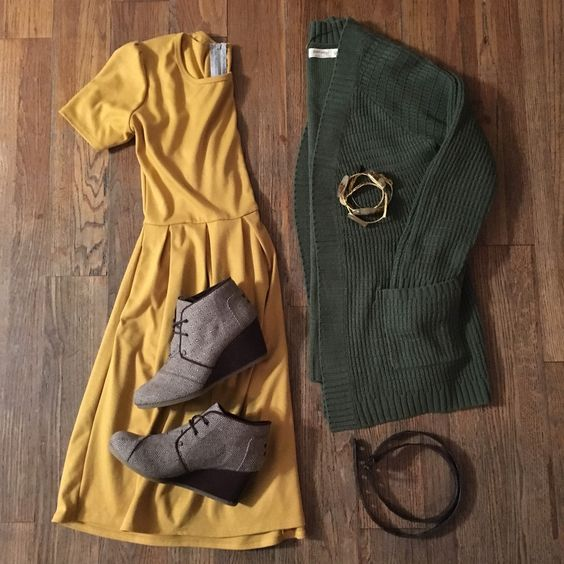 mustard yellow dress outfit: