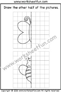 Draw the other half   One Worksheet   Draw the other half ...